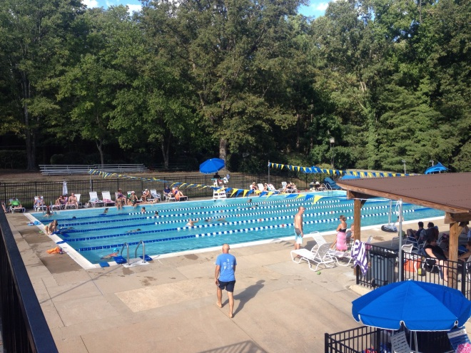 overhead view of outdoor pool with lap lanes