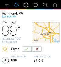 Temperature reading of 99 degrees